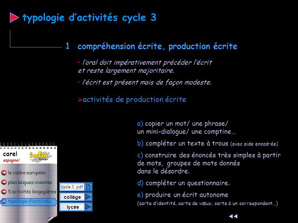 plan langues vivantes typologie d'activités 5 activités langagières le cadre européen carel espagnol  activités de compréhension écrite a) lire et fa