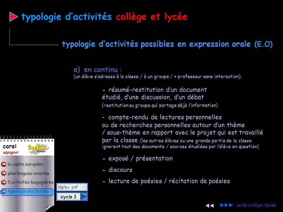 plan langues vivantes typologie d'activités 5 activités langagières le cadre européen carel espagnol cycle 3 clg/lyc pdf typologie d'activitéscollège