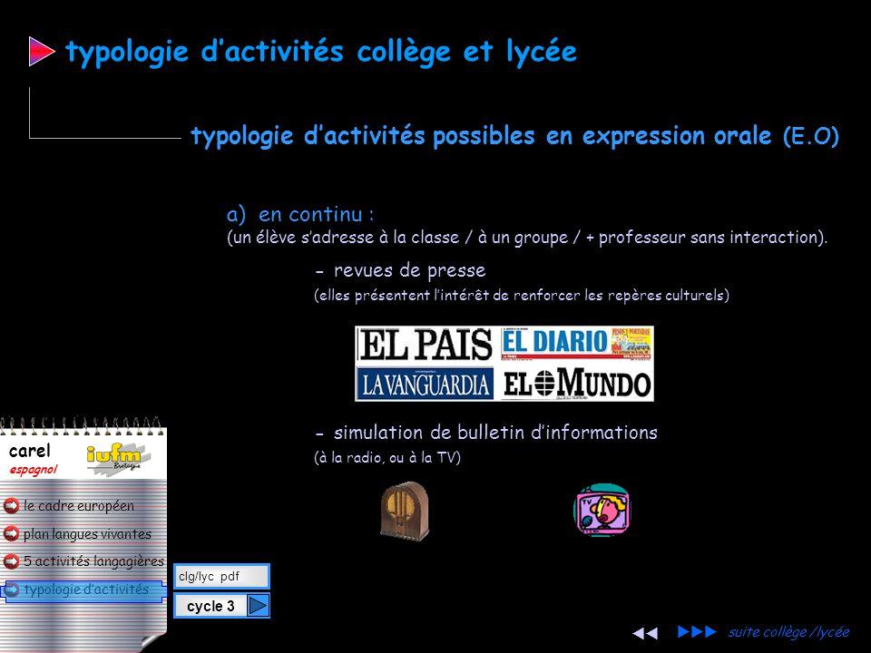 plan langues vivantes typologie d'activités 5 activités langagières le cadre européen carel espagnol typologie d'activités a) en continu : (un élève s