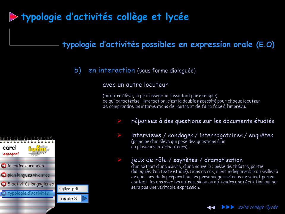 plan langues vivantes typologie d'activités 5 activités langagières le cadre européen carel espagnol a) en continu : (un élève s'adresse à la classe /