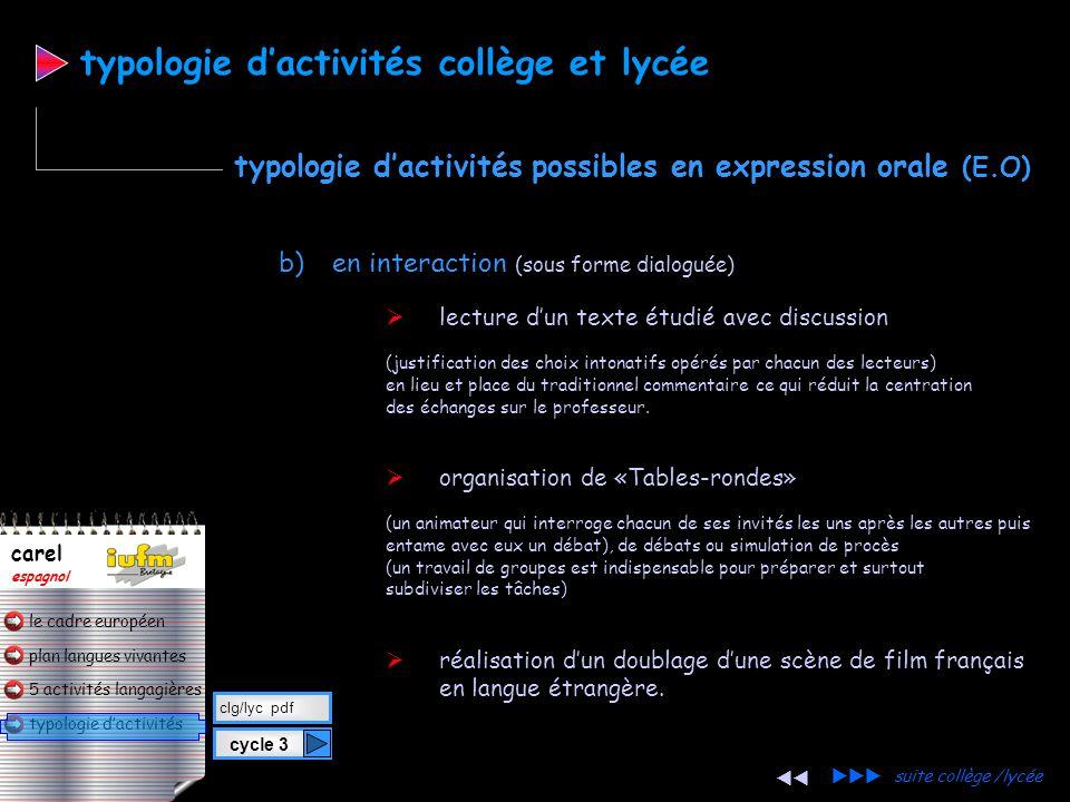 plan langues vivantes typologie d'activités 5 activités langagières le cadre européen carel espagnol b)en interaction (sous forme dialoguée) avec un a