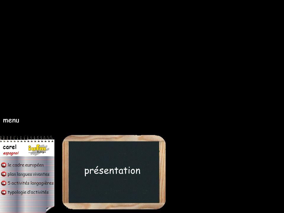 plan langues vivantes typologie d'activités 5 activités langagières le cadre européen carel espagnol typologie d'activités a) en continu : (un élève s'adresse à la classe / à un groupe / + professeur sans interaction).