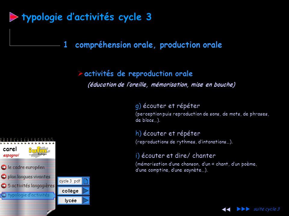 plan langues vivantes typologie d'activités 5 activités langagières le cadre européen carel espagnol  activités n'impliquant aucune prise de parole (
