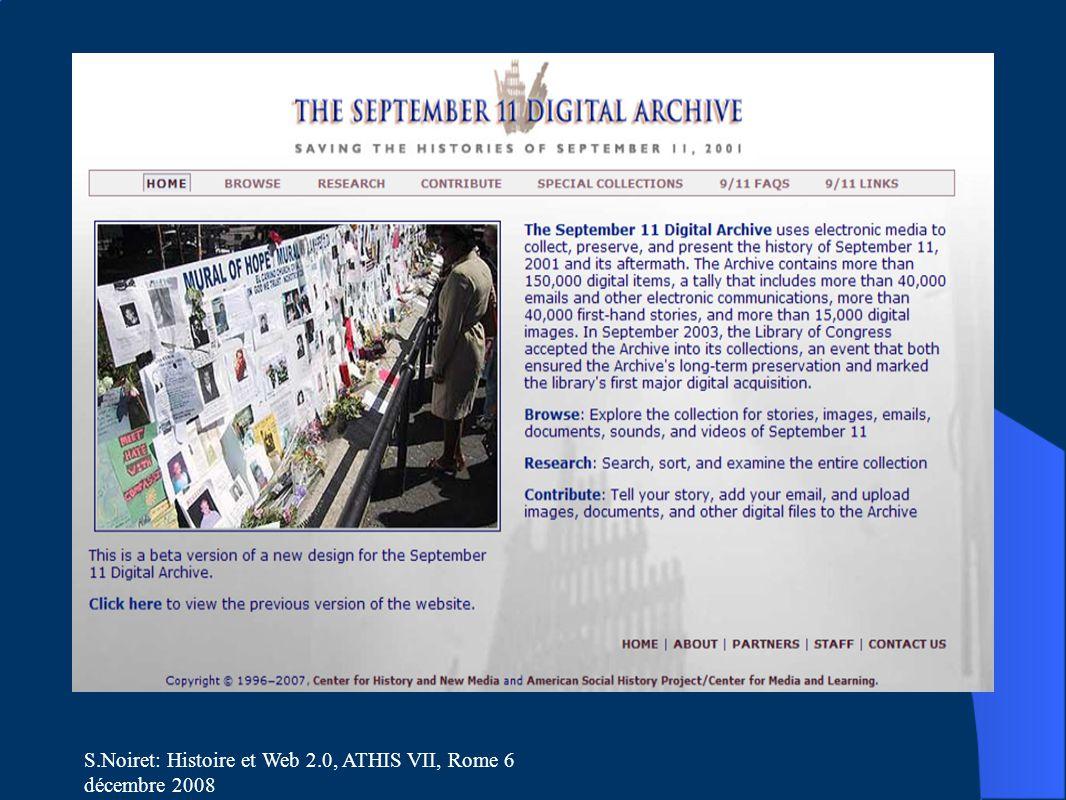 S.Noiret: Histoire et Web 2.0, ATHIS VII, Rome 6 décembre 2008