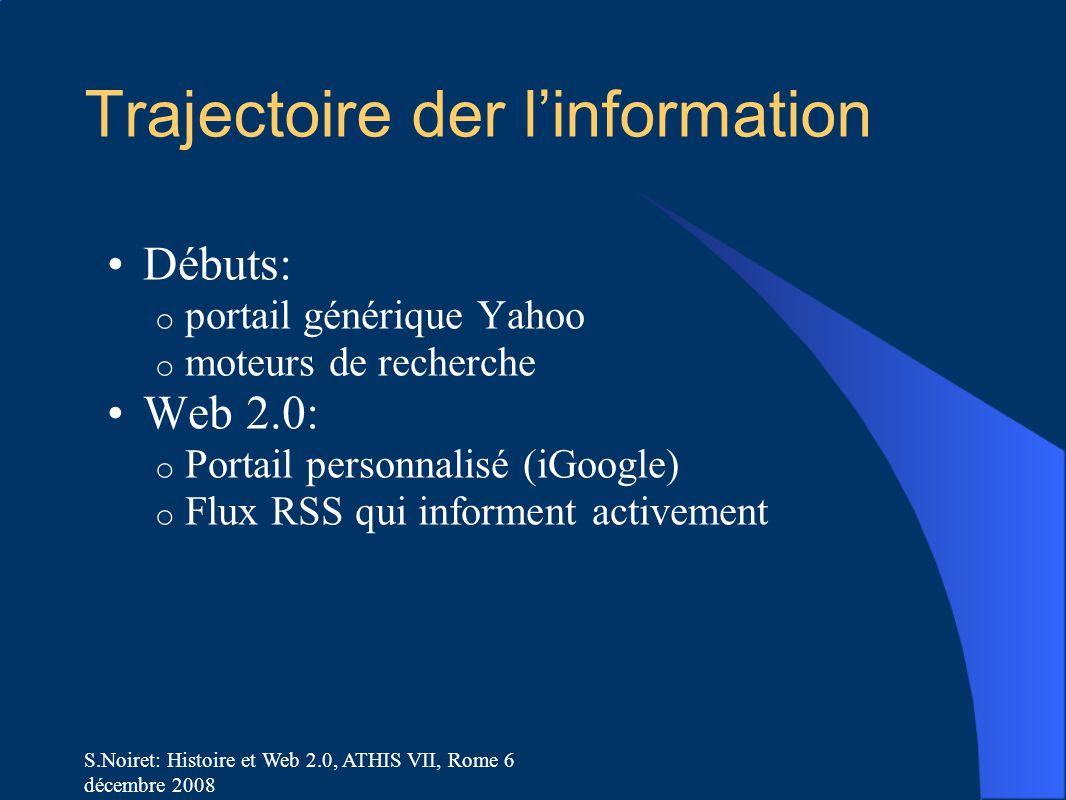 S.Noiret: Histoire et Web 2.0, ATHIS VII, Rome 6 décembre 2008 Trajectoire der l'information Débuts: o portail générique Yahoo o moteurs de recherche Web 2.0: o Portail personnalisé (iGoogle) o Flux RSS qui informent activement