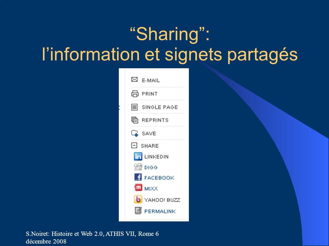 Sharing : l'information et signets partagés