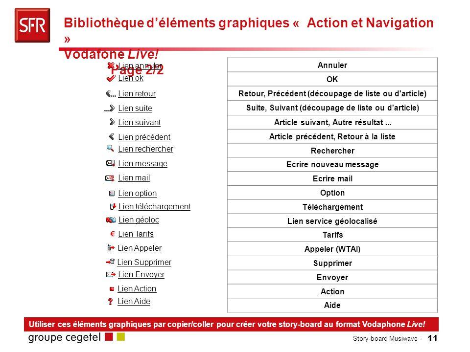 Story-board Musiwave - 11 Bibliothèque d'éléments graphiques « Action et Navigation » Vodafone Live.