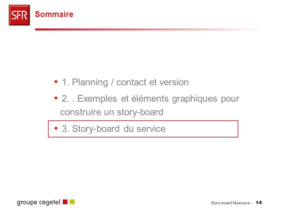 Story-board Musiwave - 14 1.Planning / contact et version 2..
