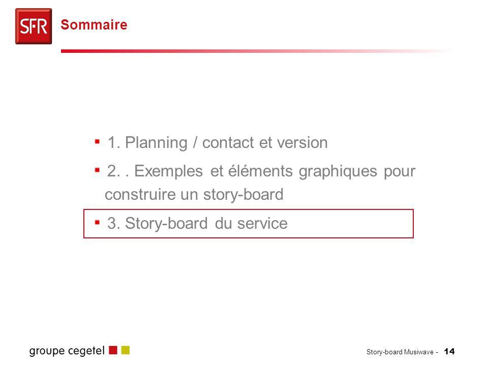 Story-board Musiwave - 14 1. Planning / contact et version 2.. Exemples et éléments graphiques pour construire un story-board 3. Story-board du servic