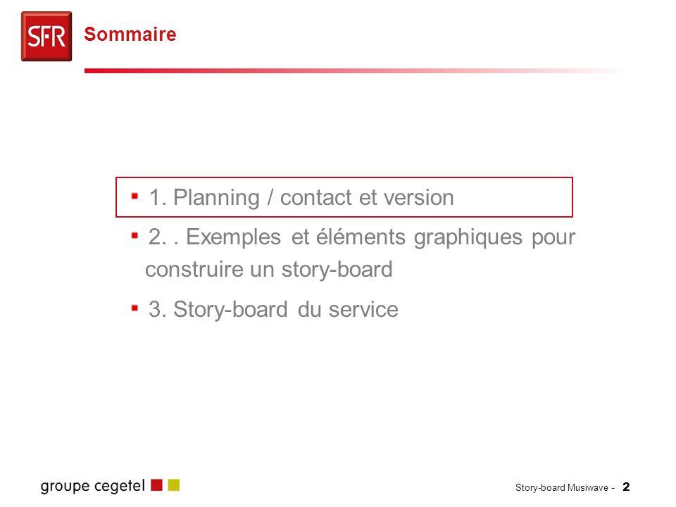 Story-board Musiwave - 2 1. Planning / contact et version 2.. Exemples et éléments graphiques pour construire un story-board 3. Story-board du service