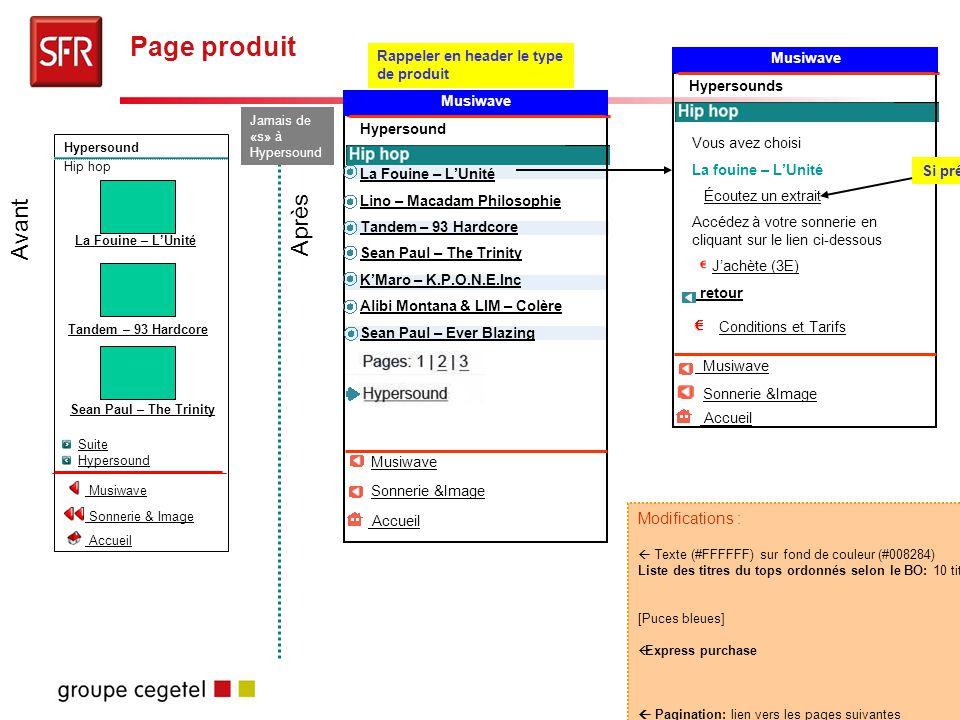Story-board Musiwave - 20 Page produit Modifications :  Texte (#FFFFFF) sur fond de couleur (#008284) Liste des titres du tops ordonnés selon le BO: