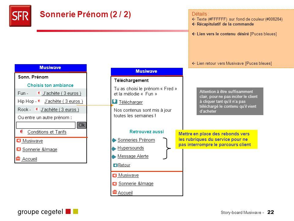 Story-board Musiwave - 22 Sonnerie Prénom (2 / 2) Détails :  Texte (#FFFFFF) sur fond de couleur (#008284)  Récapitulatif de la commande  Lien vers le contenu désiré [Puces bleues]  Lien retour vers Musiwave [Puces bleues] Sonn.