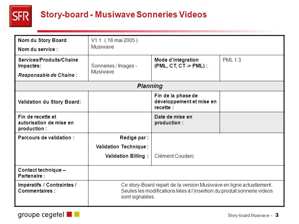 Story-board Musiwave - 3 Story-board - Musiwave Sonneries Videos Nom du Story Board : Nom du service : V1.1 ( 18 mai 2005 ) Musiwave Services/Produits/Chaine Impactés: Responsable de Chaine : Sonneries / Images - Musiwave Mode d'intégration (PML, CT, CT -> PML) : PML 1.3 Planning Validation du Story Board: Fin de la phase de développement et mise en recette : Fin de recette et autorisation de mise en production : Date de mise en production : Parcours de validation :Rédigé par : Validation Technique : Validation Billing :Clément Couderc Contact technique – Partenaire : Impératifs / Contraintes / Commentaires : Ce story-Board repart de la version Musiwave en ligne actuellement.