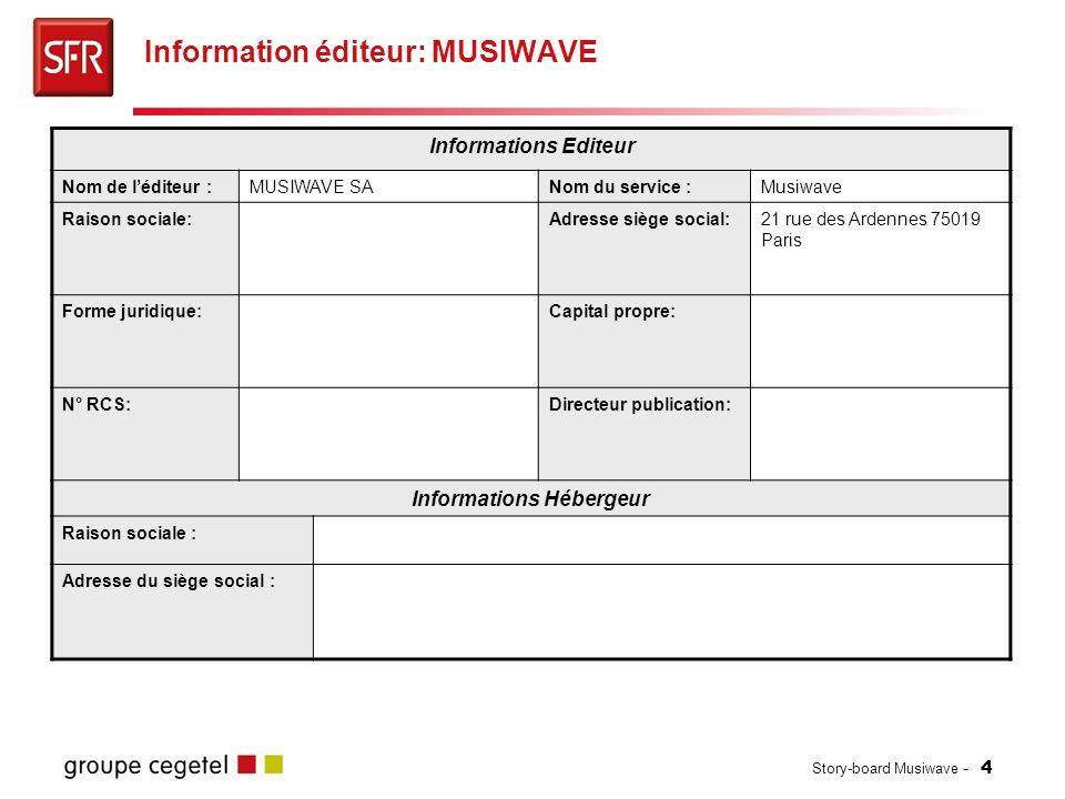 Story-board Musiwave - 4 Information éditeur: MUSIWAVE Informations Editeur Nom de l'éditeur :MUSIWAVE SANom du service :Musiwave Raison sociale:Adres