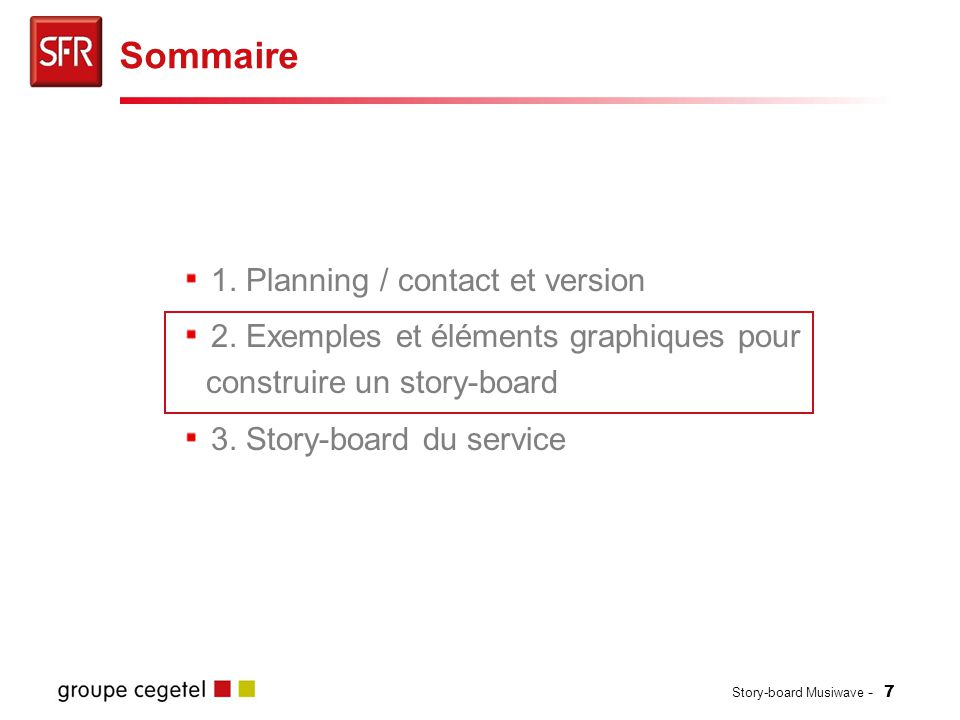 Story-board Musiwave - 7 1.Planning / contact et version 2.
