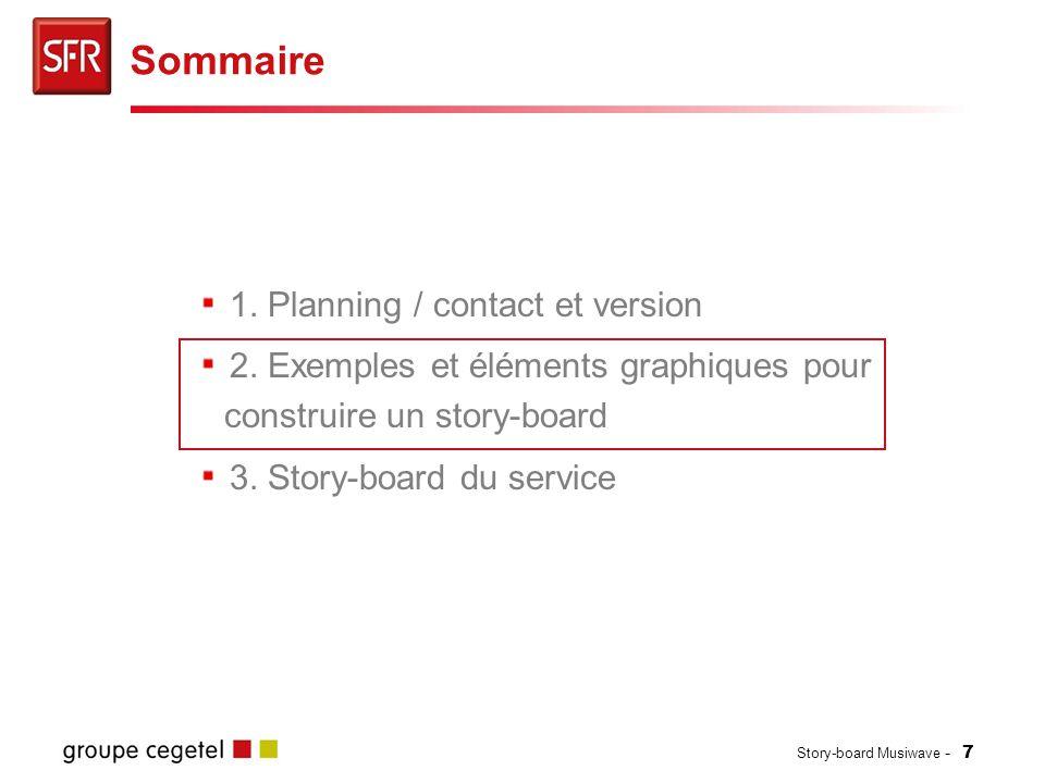 Story-board Musiwave - 7 1. Planning / contact et version 2. Exemples et éléments graphiques pour construire un story-board 3. Story-board du service
