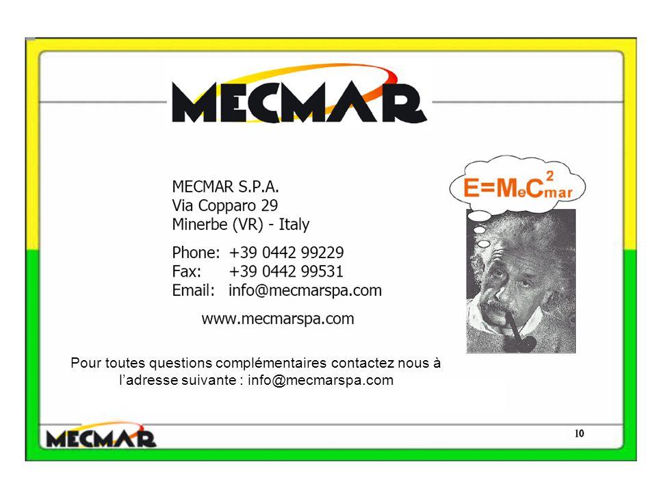 Pour toutes questions complémentaires contactez nous à l'adresse suivante : info@mecmarspa.com