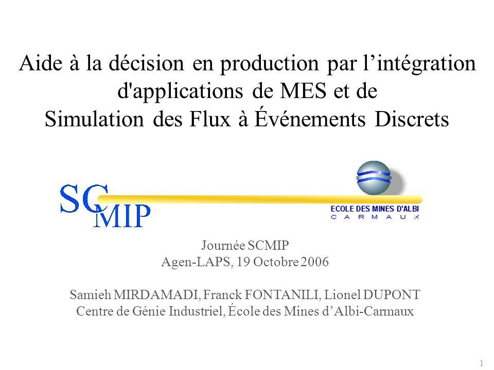 1 Aide à la décision en production par l'intégration d'applications de MES et de Simulation des Flux à Événements Discrets Journée SCMIP Agen-LAPS, 19