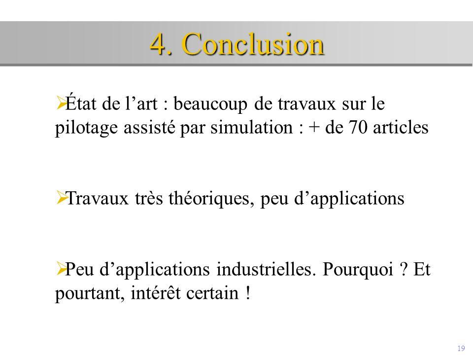 19 4. Conclusion  État de l'art : beaucoup de travaux sur le pilotage assisté par simulation : + de 70 articles  Travaux très théoriques, peu d'appl