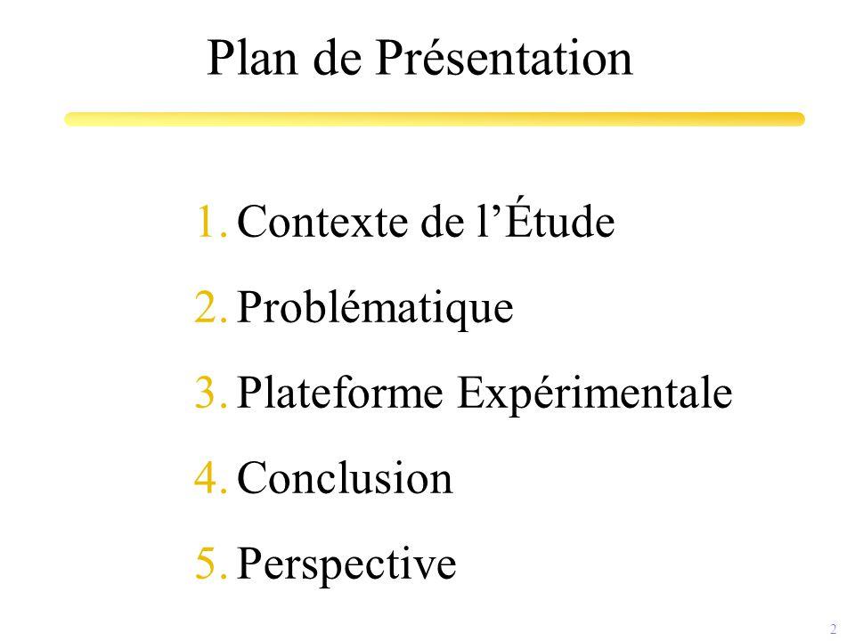 2 Plan de Présentation 1.Contexte de l'Étude 2.Problématique 3.Plateforme Expérimentale 4.Conclusion 5.Perspective