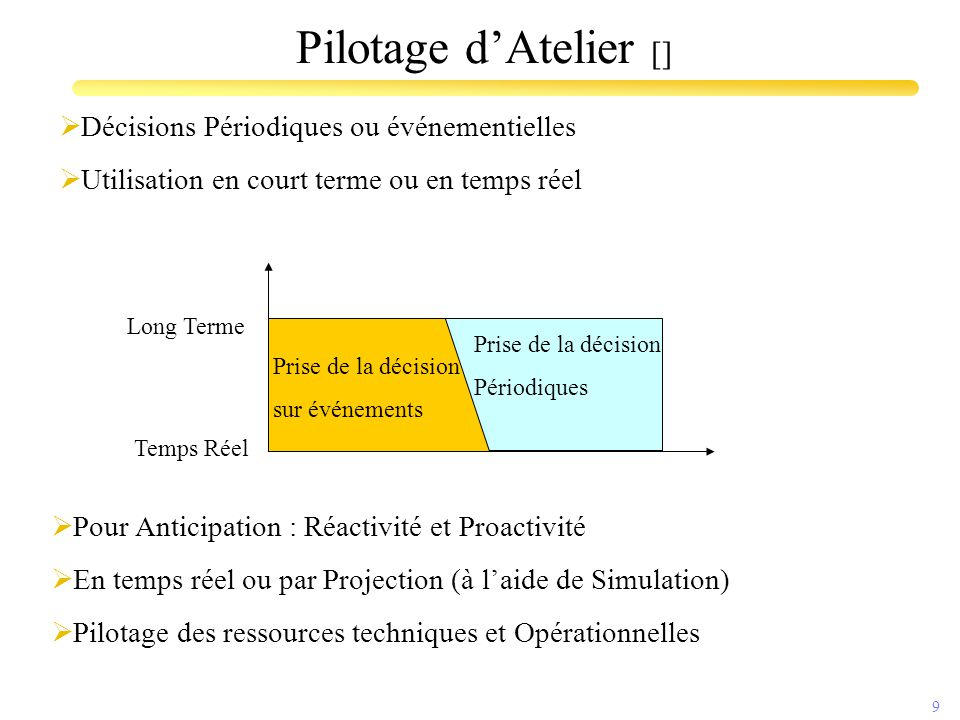 10 Pilotage d'Atelier []  Système qui utilise les données en provenance de l'atelier pour mettre à jour et communiquer la situation des O.F.