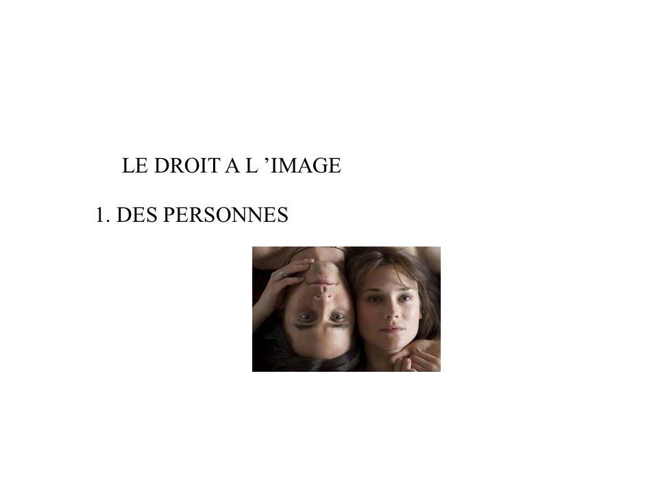 LE DROIT A L 'IMAGE 1. DES PERSONNES