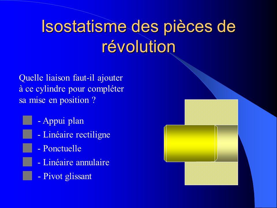 Isostatisme des pièces de révolution En effet, l'élimination de 5 degrés de liberté est suffisante pour positionner une pièce de révolution : il n 'es