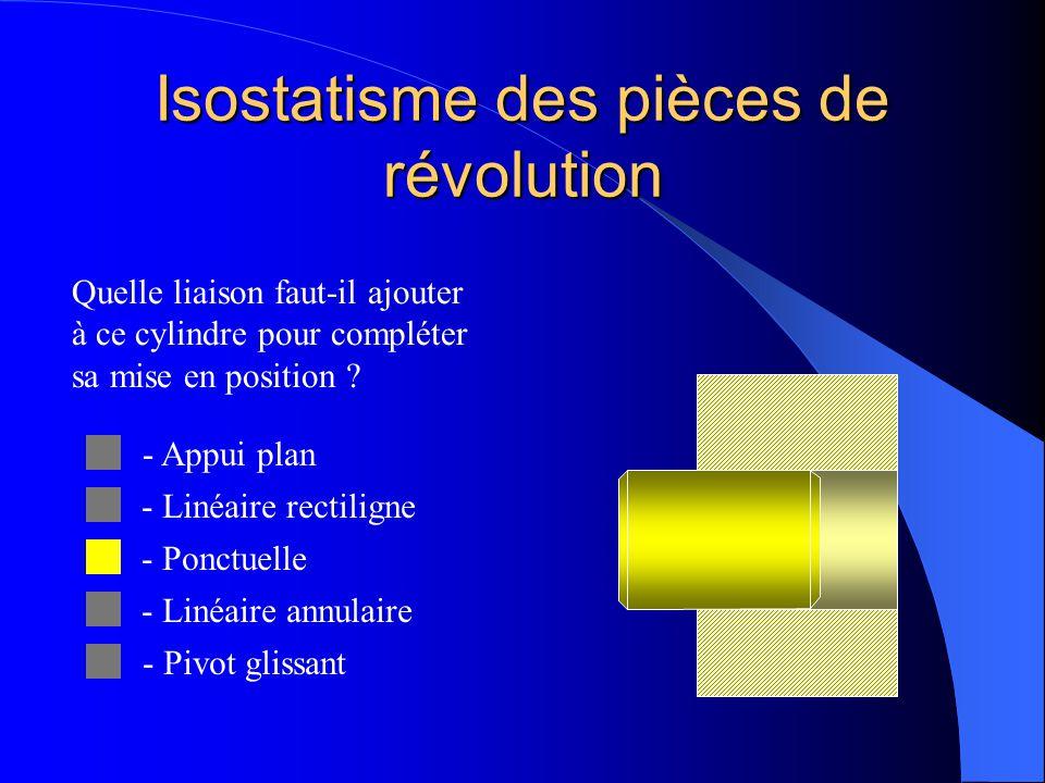 Isostatisme des pièces de révolution Quelle liaison faut-il ajouter à ce cylindre pour compléter sa mise en position ? - Appui plan - Linéaire rectili