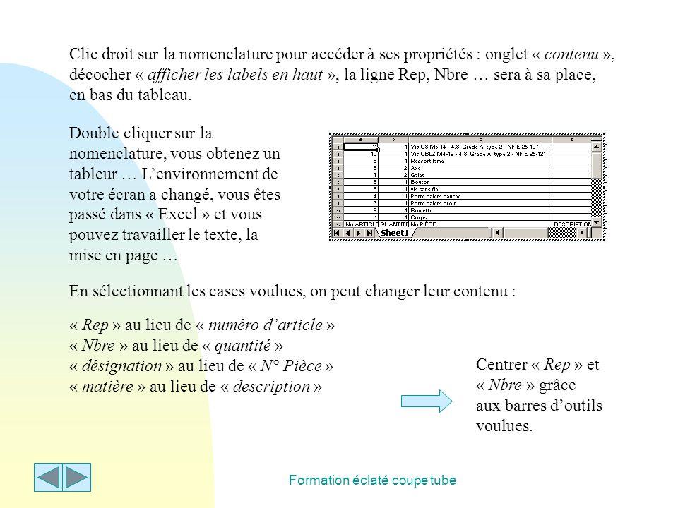 Formation éclaté coupe tube Clic droit sur la nomenclature pour accéder à ses propriétés : onglet « contenu », décocher « afficher les labels en haut