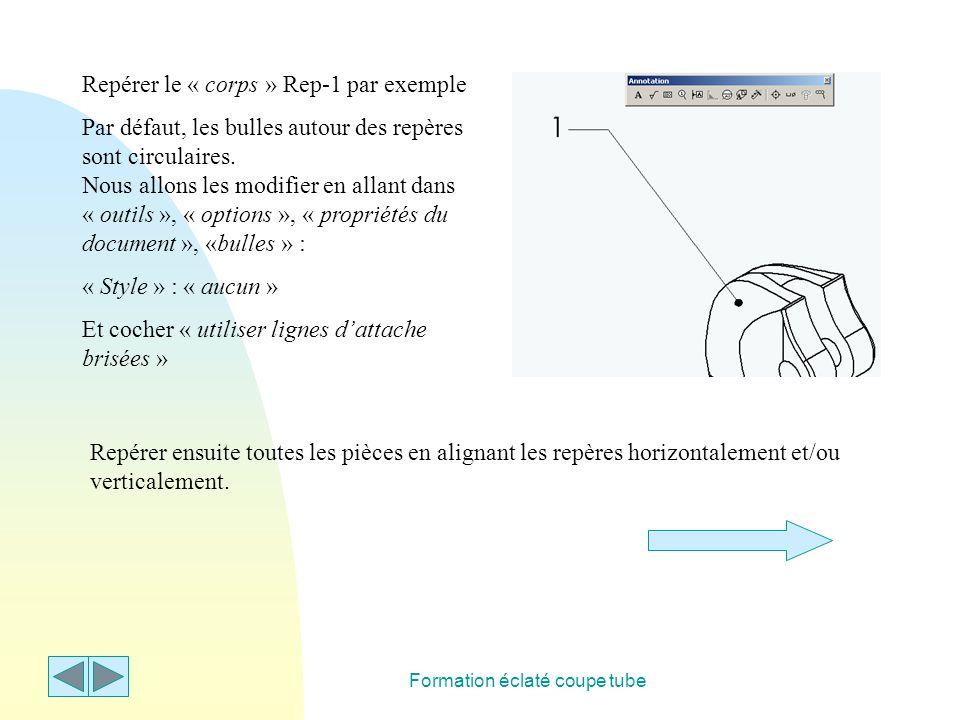 Formation éclaté coupe tube Repérer le « corps » Rep-1 par exemple Par défaut, les bulles autour des repères sont circulaires. Nous allons les modifie