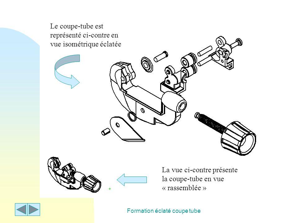 Formation éclaté coupe tube Le coupe-tube est représenté ci-contre en vue isométrique éclatée La vue ci-contre présente la coupe-tube en vue « rassemb