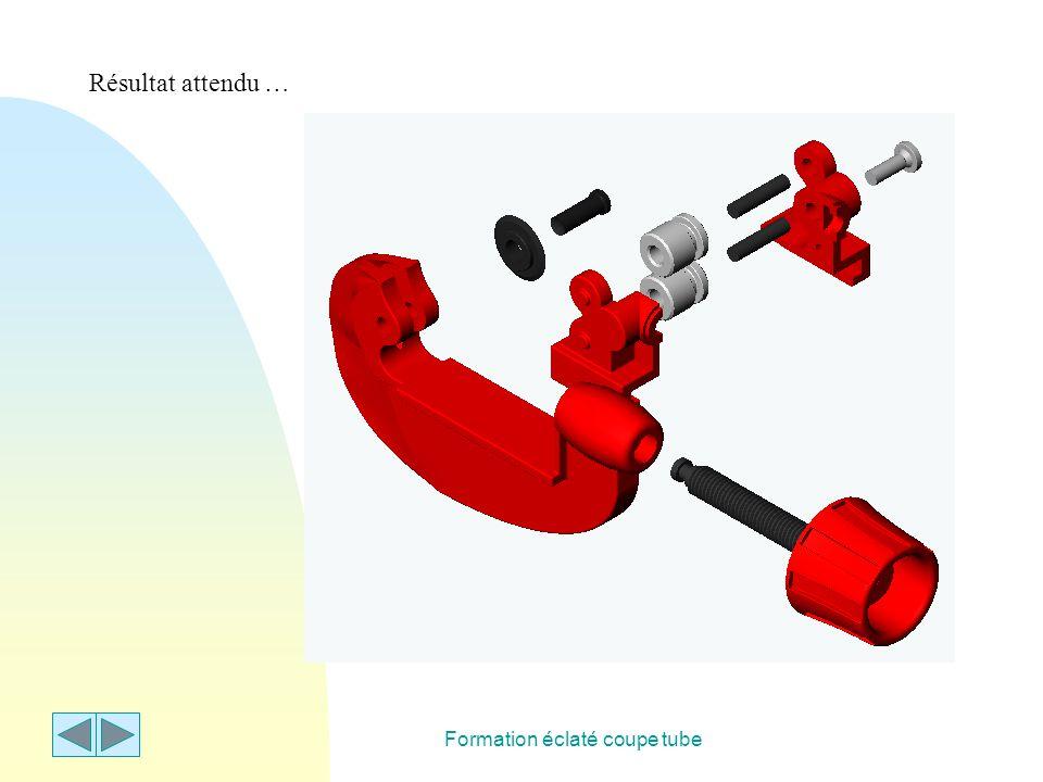 Formation éclaté coupe tube Deuxième étape : ouvrir maintenant un nouveau document SolidWorks : « nouveau », « mise en plan », « pas de fond de plan », « A4 paysage » … « mosaïque horizontale », activer la mise en plan, appeler une « vue nommée » et cliquer dans la zone graphique du modèle éclaté puis sur la feuille de mise en plan.