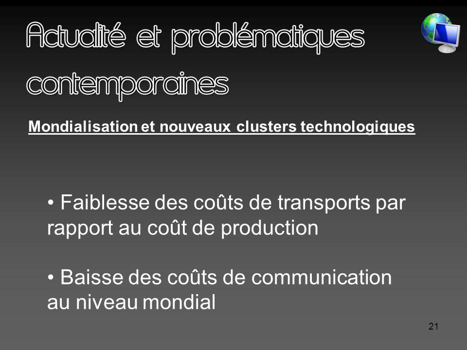 21 Mondialisation et nouveaux clusters technologiques Faiblesse des coûts de transports par rapport au coût de production Baisse des coûts de communication au niveau mondial