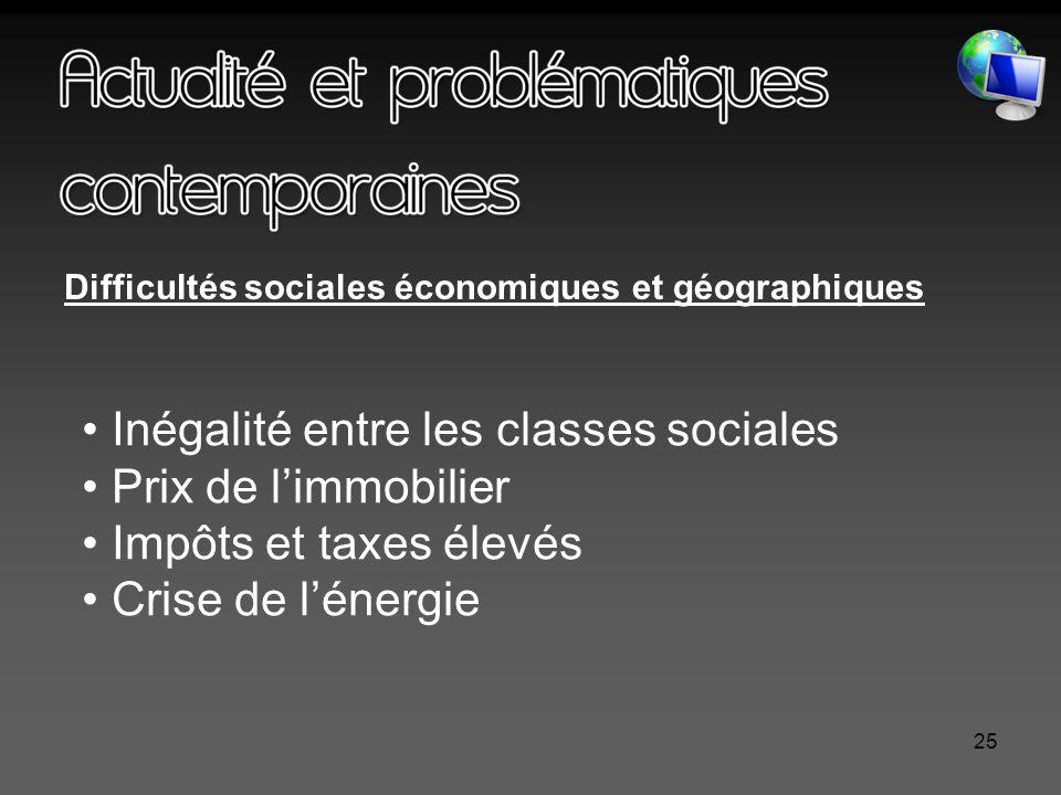 25 Difficultés sociales économiques et géographiques Inégalité entre les classes sociales Prix de l'immobilier Impôts et taxes élevés Crise de l'énergie