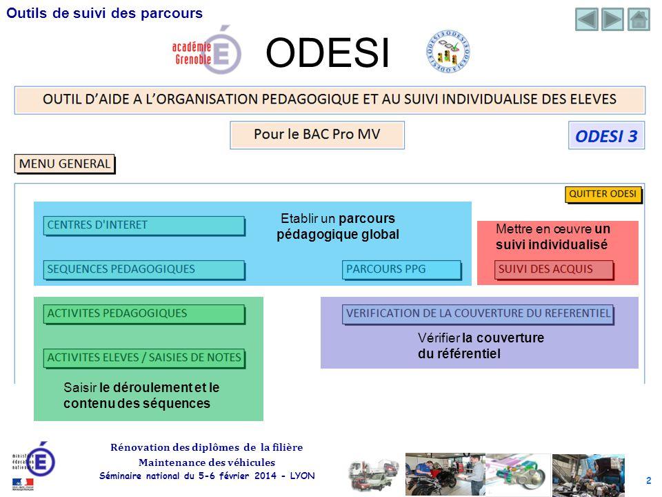2 Rénovation des diplômes de la filière Maintenance des véhicules Séminaire national du 5-6 février 2014 - LYON Outils de suivi des parcours ODESI Eta
