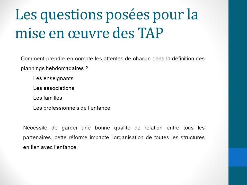 Les questions posées pour la mise en œuvre des TAP Comment prendre en compte les attentes de chacun dans la définition des plannings hebdomadaires ? L