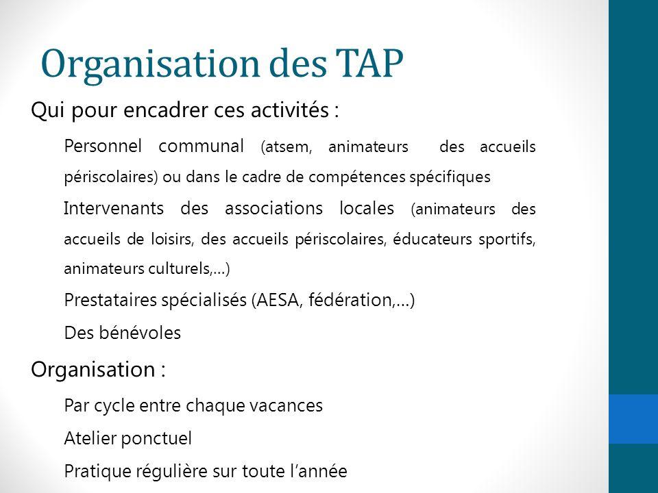 Organisation des TAP Qui pour encadrer ces activités : Personnel communal (atsem, animateurs des accueils périscolaires) ou dans le cadre de compétenc