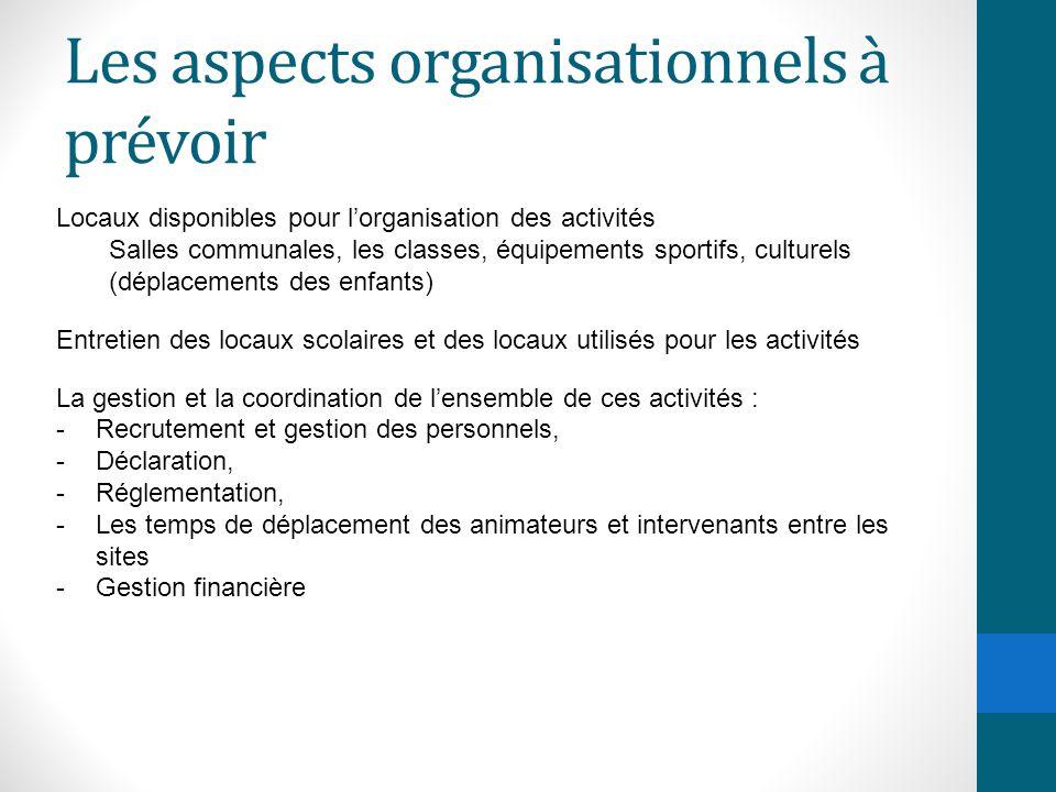 Les aspects organisationnels à prévoir Locaux disponibles pour l'organisation des activités Salles communales, les classes, équipements sportifs, cult