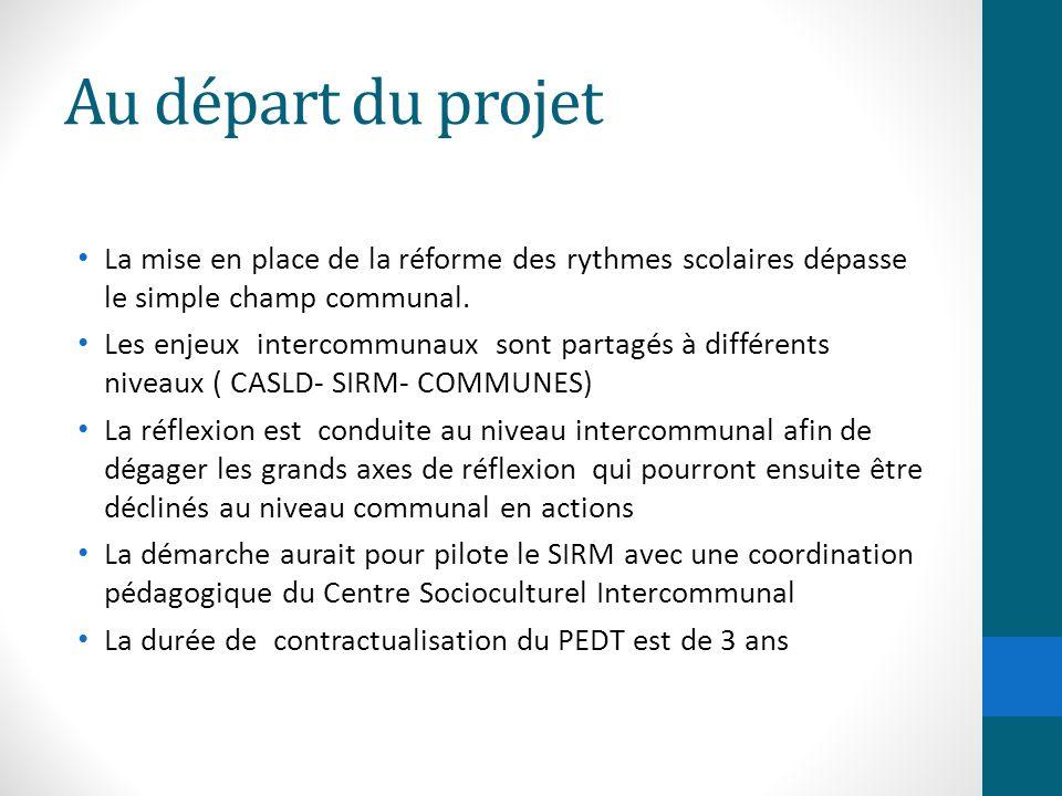 Au départ du projet La mise en place de la réforme des rythmes scolaires dépasse le simple champ communal. Les enjeux intercommunaux sont partagés à d