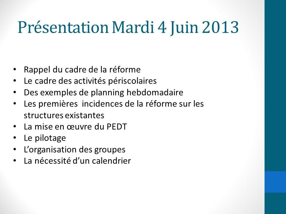 Présentation Mardi 4 Juin 2013 Rappel du cadre de la réforme Le cadre des activités périscolaires Des exemples de planning hebdomadaire Les premières