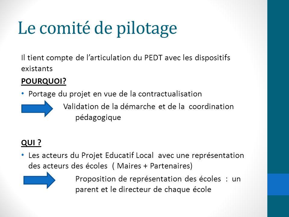 Le comité de pilotage Il tient compte de l'articulation du PEDT avec les dispositifs existants POURQUOI? Portage du projet en vue de la contractualisa