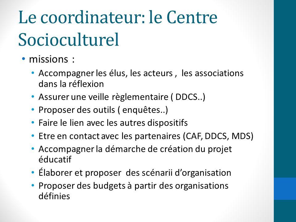 Le coordinateur: le Centre Socioculturel missions : Accompagner les élus, les acteurs, les associations dans la réflexion Assurer une veille règlement
