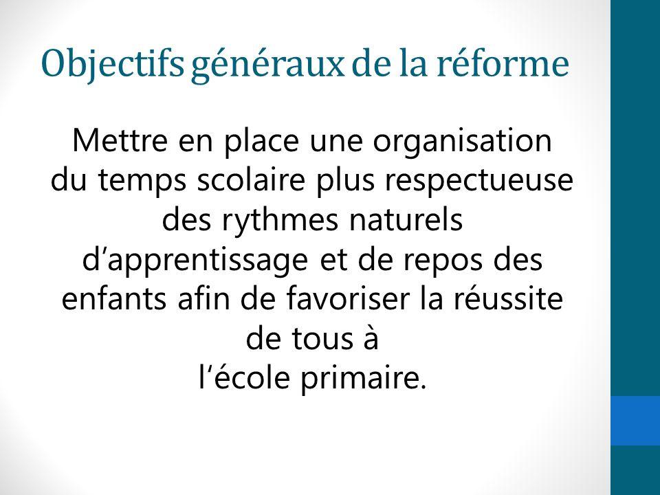 Objectifs généraux de la réforme Mettre en place une organisation du temps scolaire plus respectueuse des rythmes naturels d'apprentissage et de repos