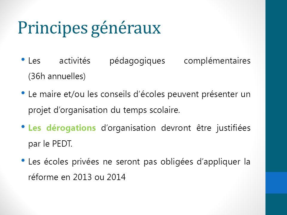 Principes généraux Les activités pédagogiques complémentaires (36h annuelles) Le maire et/ou les conseils d'écoles peuvent présenter un projet d'organ