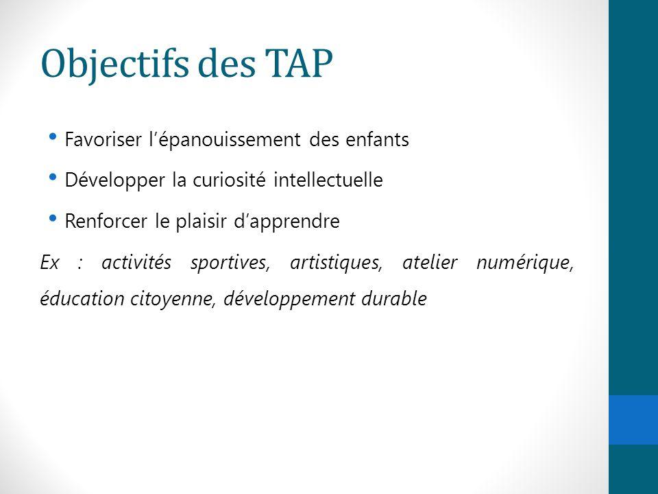 Objectifs des TAP Favoriser l'épanouissement des enfants Développer la curiosité intellectuelle Renforcer le plaisir d'apprendre Ex : activités sporti