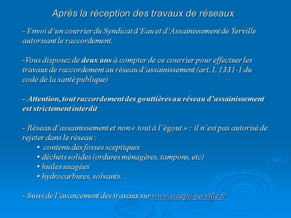 Après la réception des travaux de réseaux - Envoi d'un courrier du Syndicat d'Eau et d'Assainissement de Yerville autorisant le raccordement.