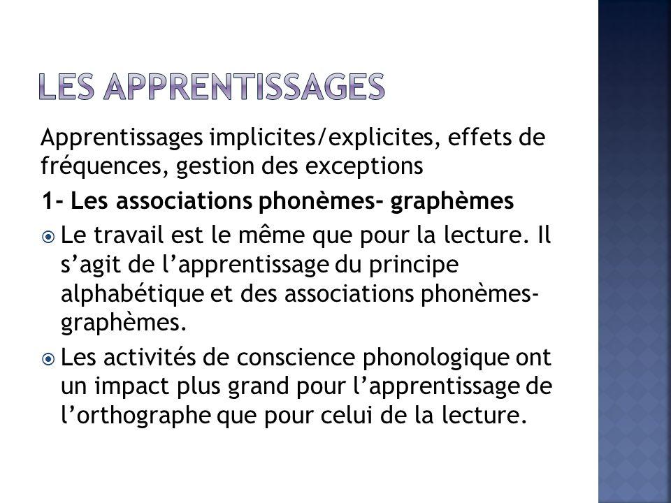 Apprentissages implicites/explicites, effets de fréquences, gestion des exceptions 1- Les associations phonèmes- graphèmes  Le travail est le même que pour la lecture.