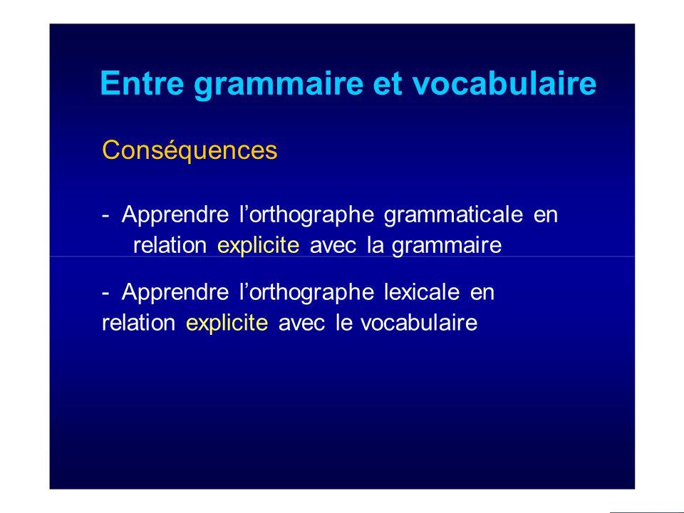 Entre grammaire et vocabulaire Conséquences - Apprendre l'orthographe grammaticale en relation explicite avec la grammaire - Apprendre l'orthographe lexicale en relation explicite avec le vocabulaire