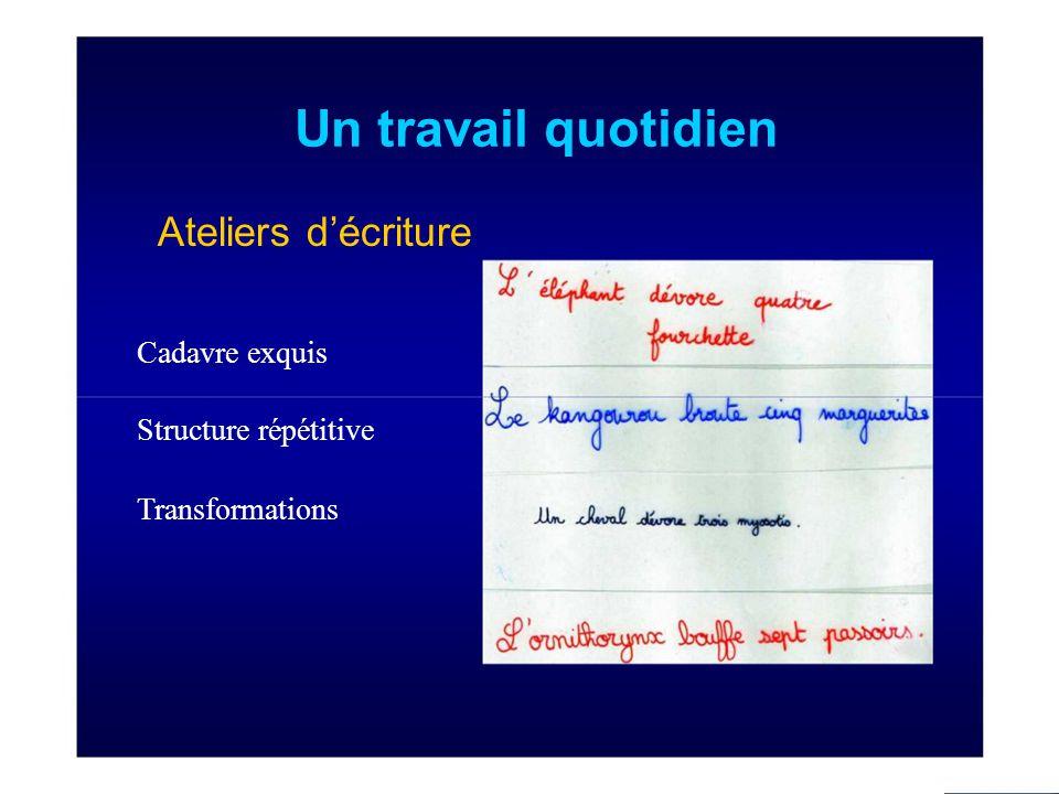 Un travail quotidien Ateliers d'écriture Cadavre exquis Structure répétitive Transformations