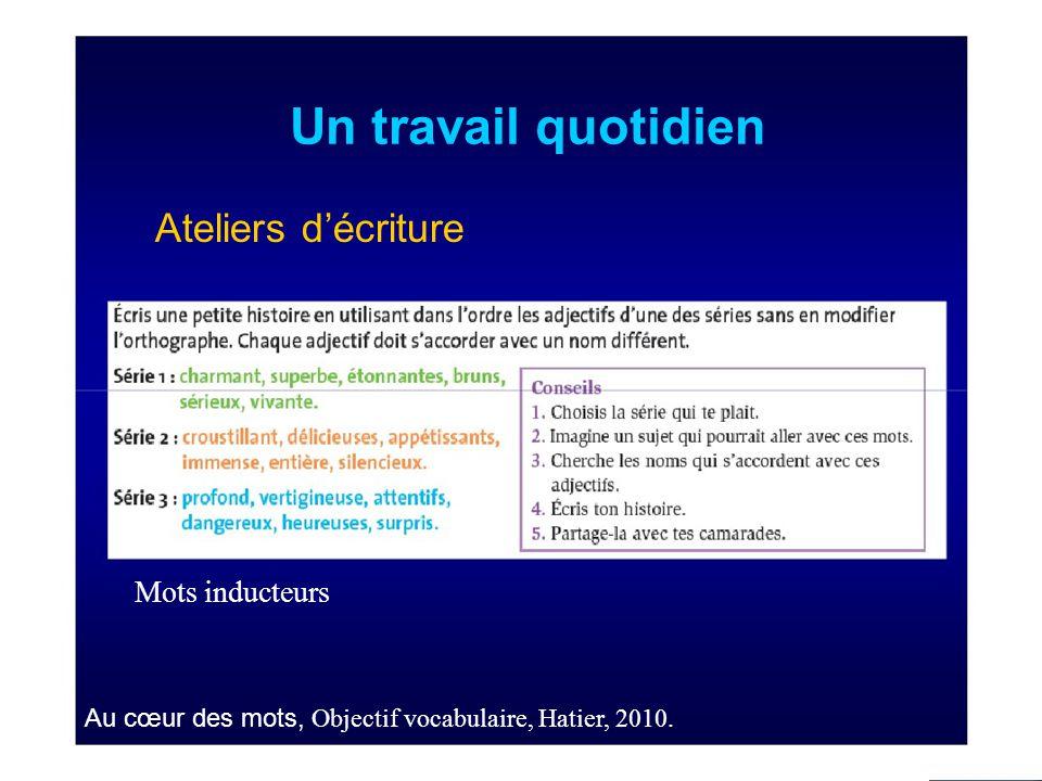 Un travail quotidien Ateliers d'écriture Mots inducteurs Au cœur des mots, Objectif vocabulaire, Hatier, 2010.